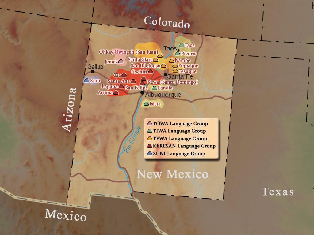 Map outlining Pueblo language groups