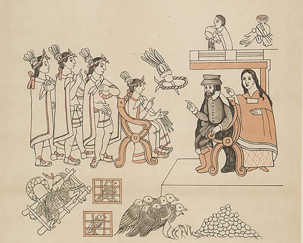 Hernán Cortés meeting with Malintzin (La Malinche) at Tenochtitlán