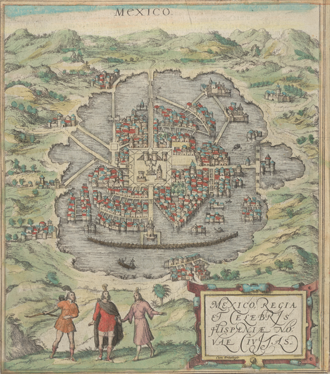 Mexico City limits map in 1572