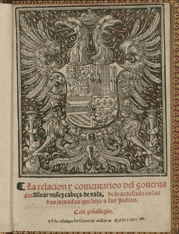 Title page of Cabeza de Vaca's La relación
