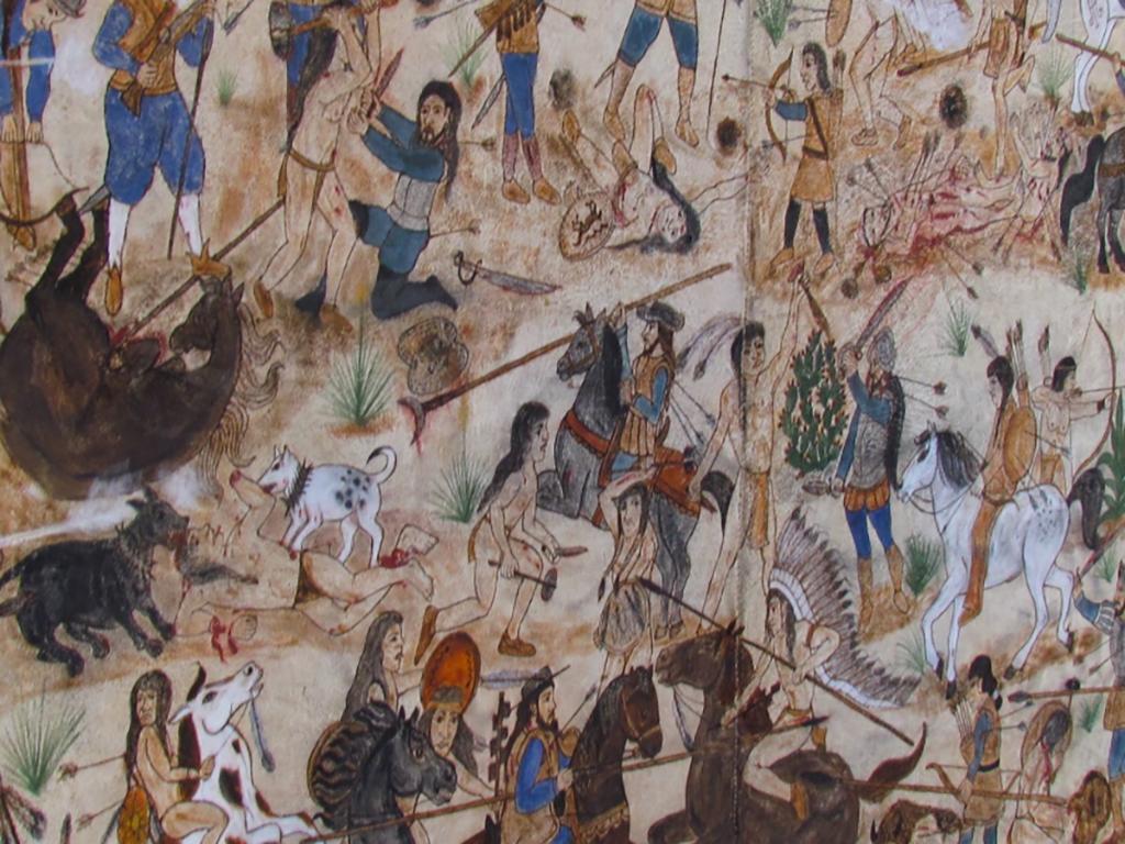 Pueblo revolt hide painting