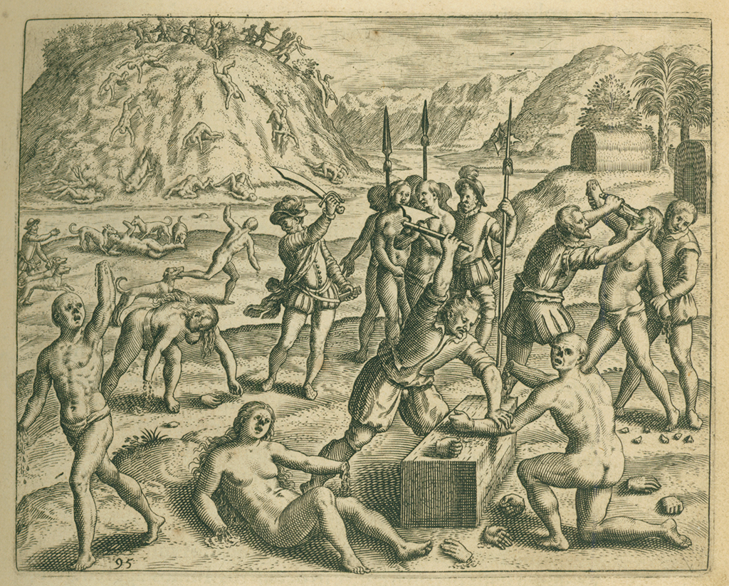 Spanish cutting off the hands and feet of native men who opposed them