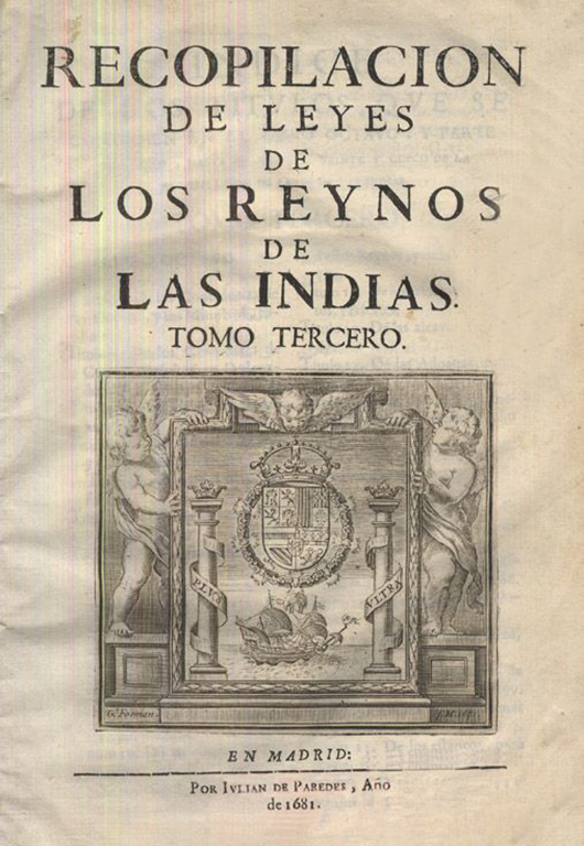 Title page from a 1681 printing of the Laws of the Indies