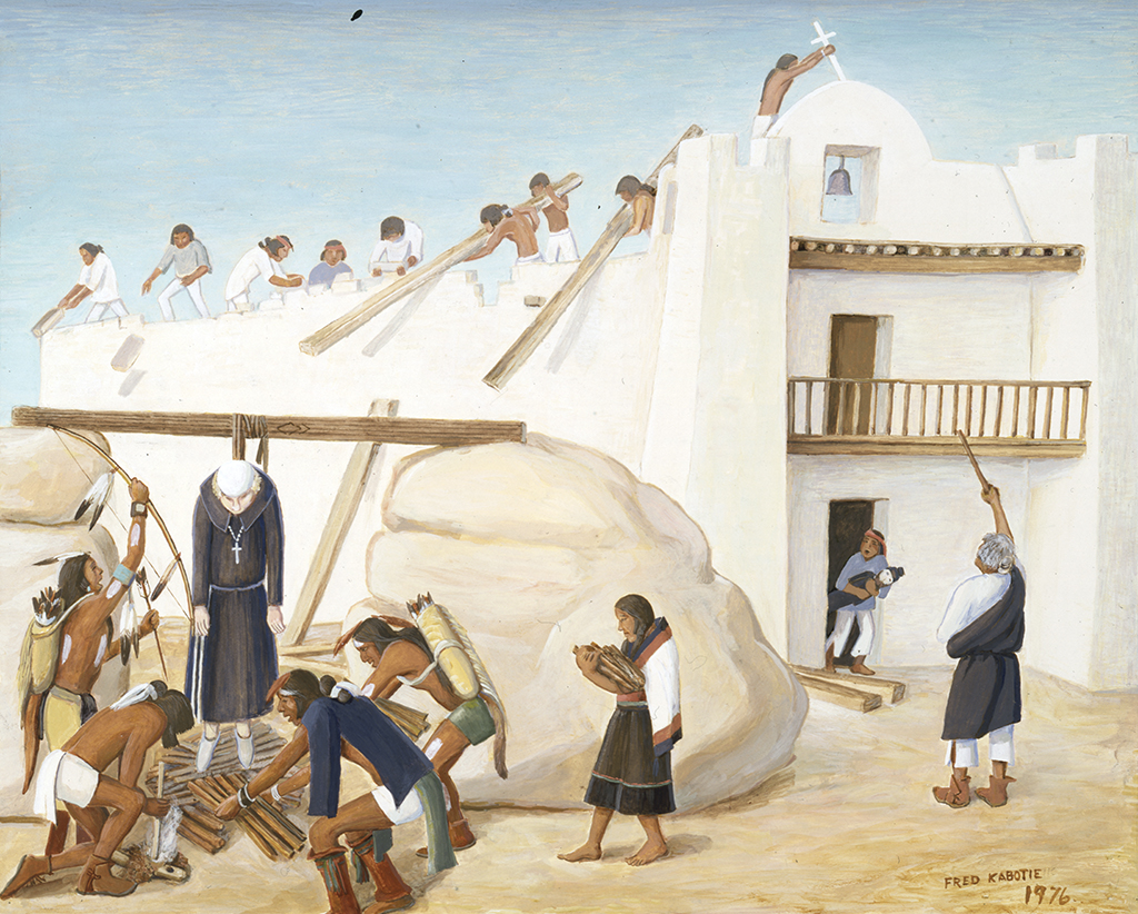 Hopi people tearing down the cross from the mission church and putting a Catholic priest to death.