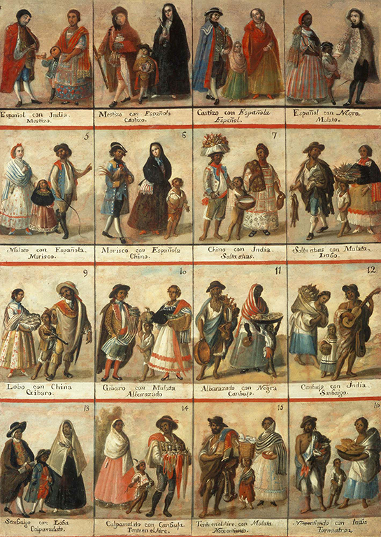 Eighteenth-century casta painting depicting sixteen different casta combinations.