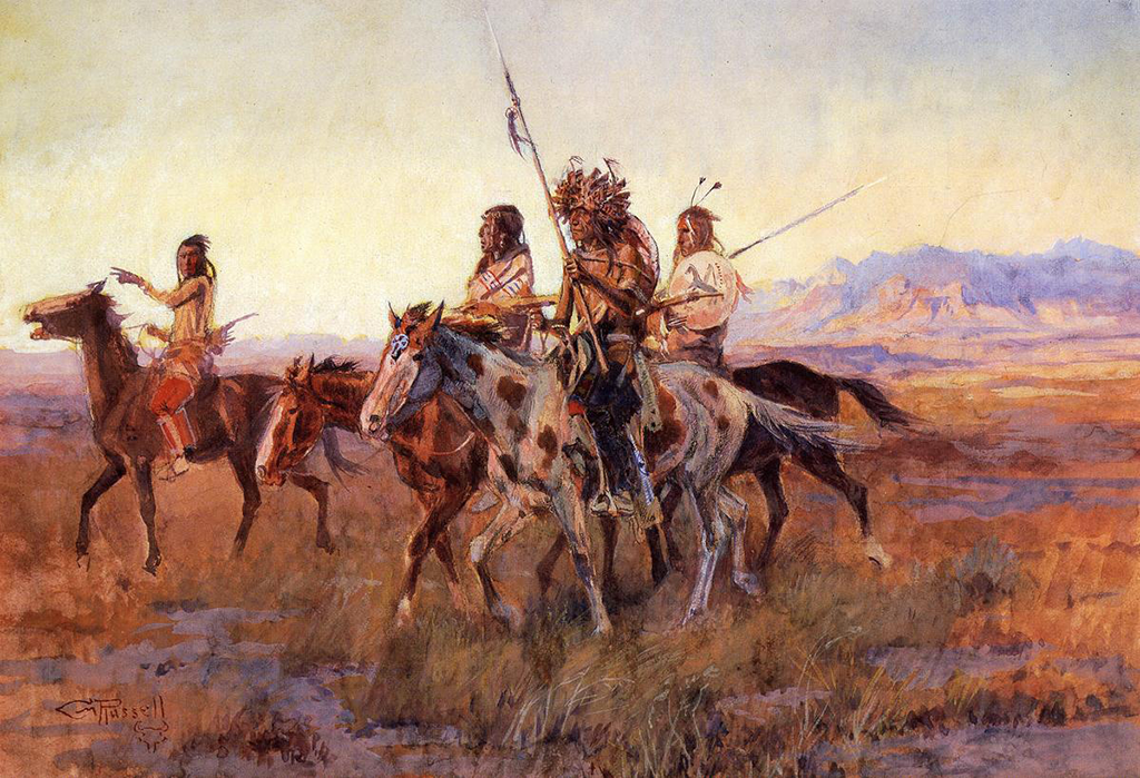 Comanches riding across the staked plains
