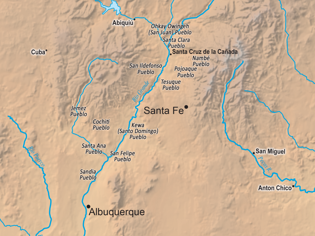 Map outlining New Mexican towns added by Genízaros in the late 1700s and early 1800s