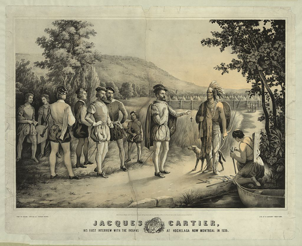 Jacques Cartier's first meeting with Indians at Hochelaga now Montreal in 1535.