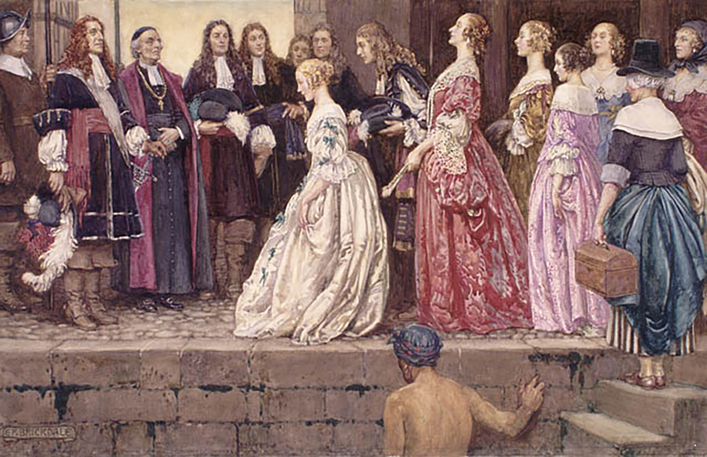 The arrival of brides for French settlers at Quebec in 1667.