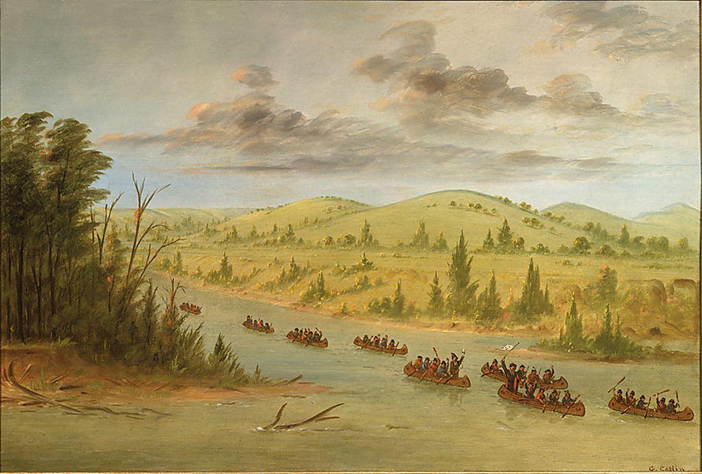 La Salle's Party arrives at the mouth of the Mississippi River in canoes, 1682
