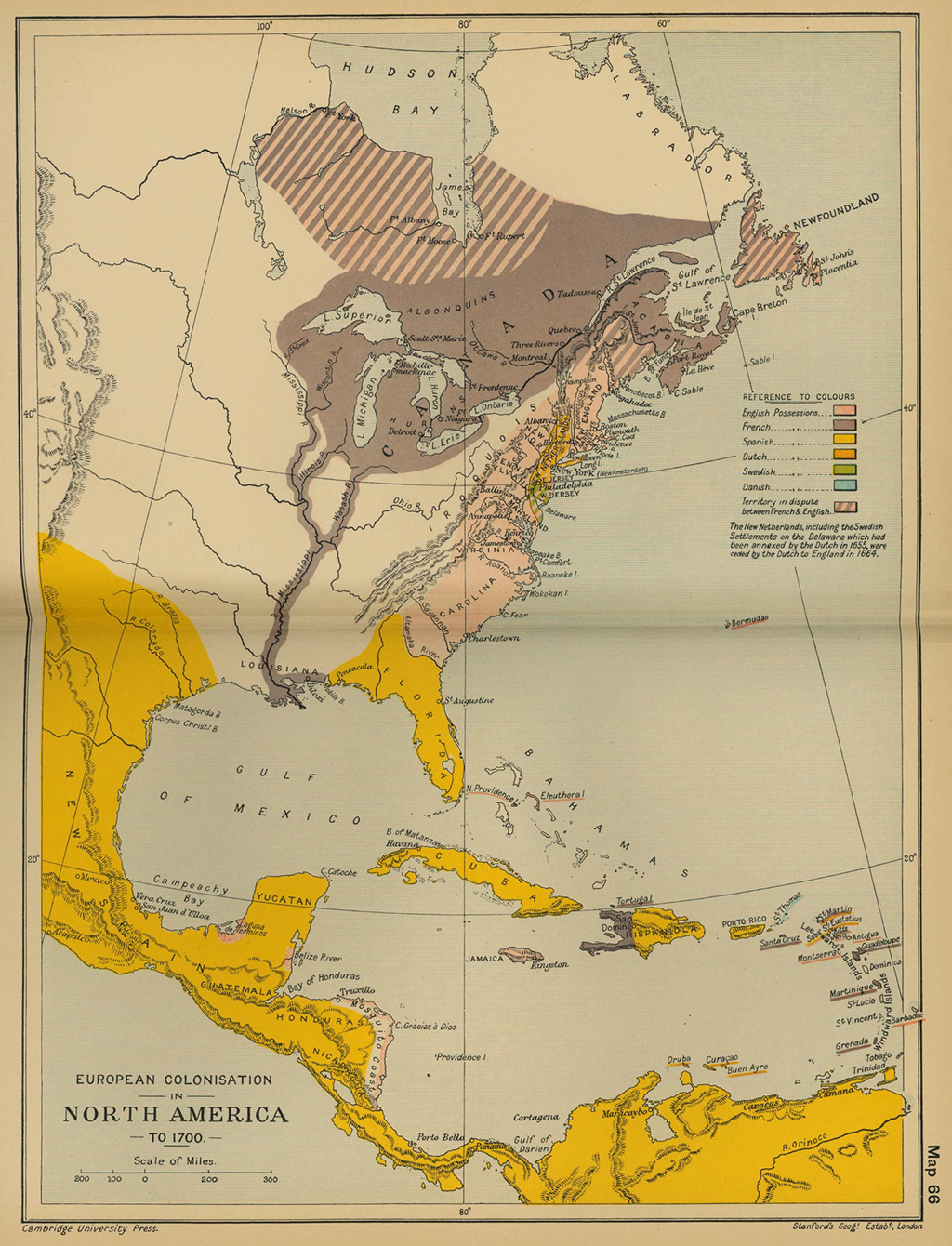 The map of European colonization of North America as of 1700
