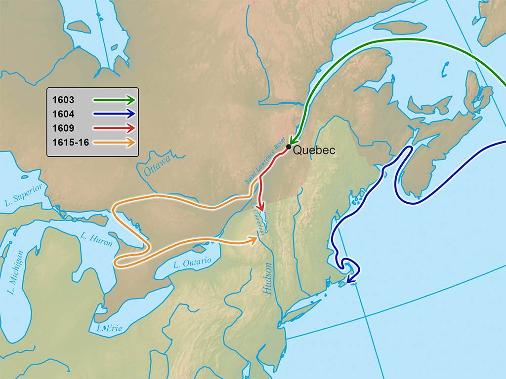 Champlain's Explorations Map