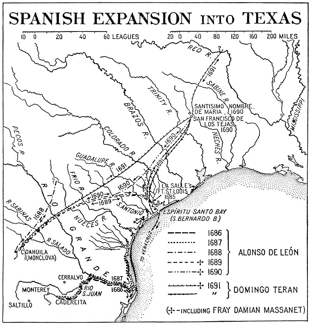 Map outlining first Spanish settlement expeditions into Texas