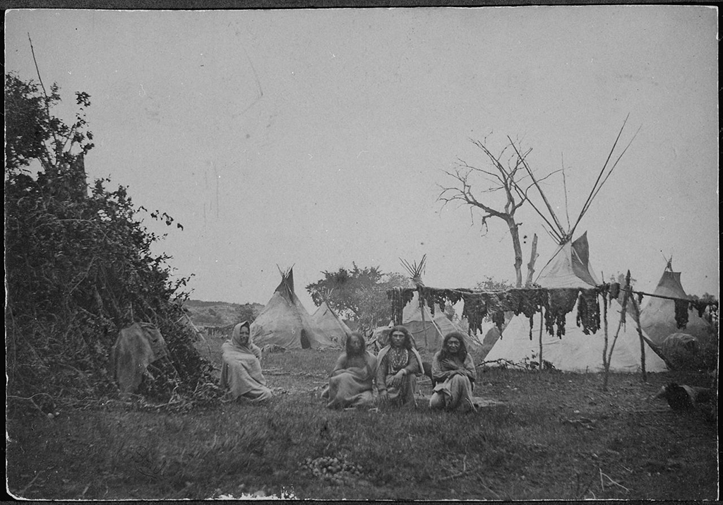 Comanche buffalo hunters at an encampment in the southern plains