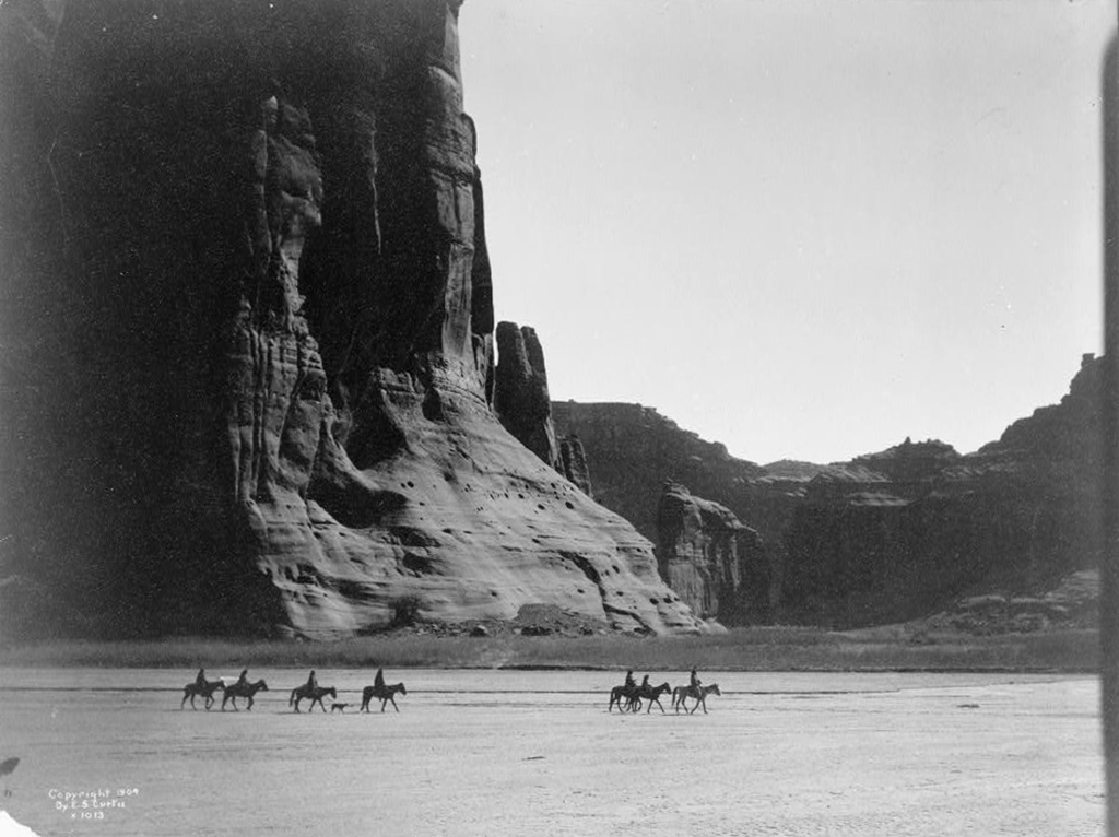Navajo horsemen in Canyon de Chelly
