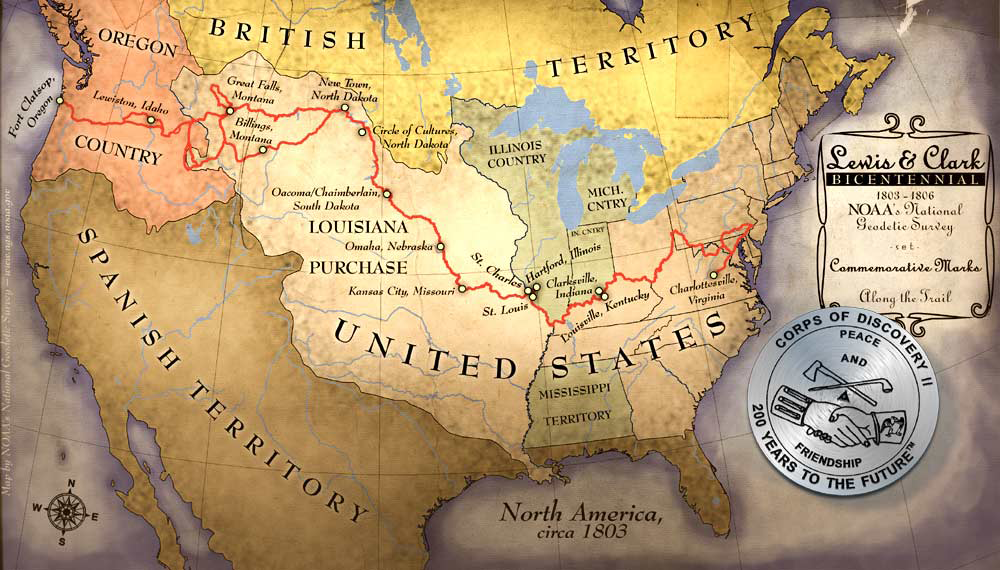 Map outlining Lewis & Clark expedition across the United States of America