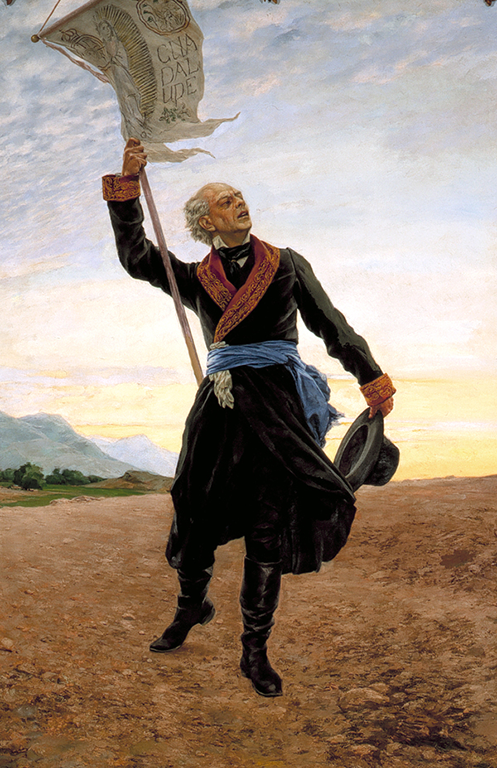 Father Hidalgo with a flag depicting the Virgen de Guadalupe