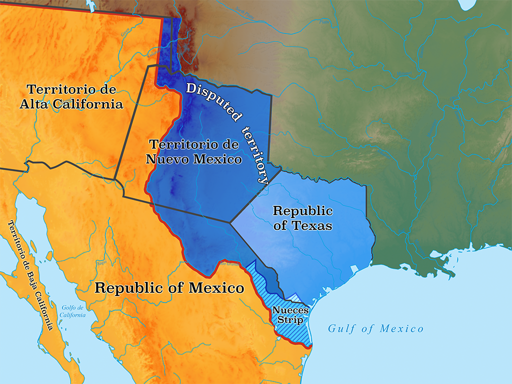 Map outlining Republic of Texas territorial claims