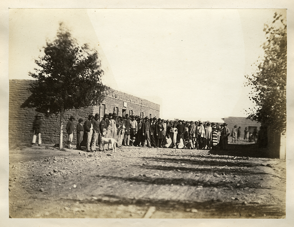 Navajos and U.S. Soldiers gathered together near Fort Sumner during the Navajo internment at Bosque Redondo in 1866.