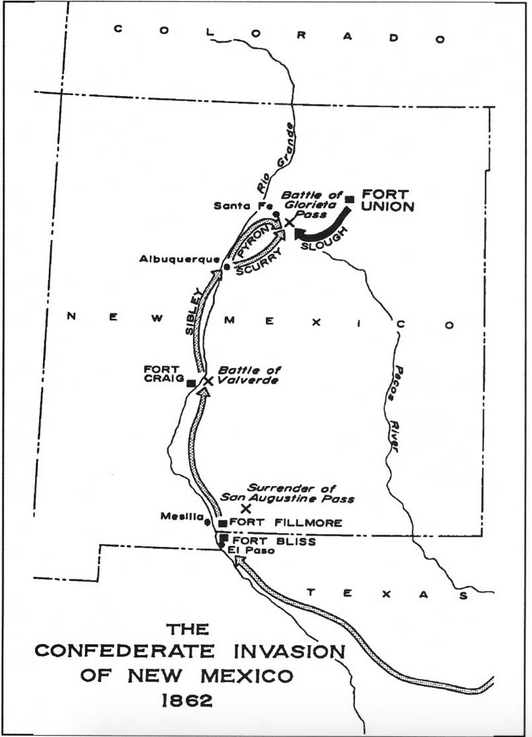 Map outlining the Confederate advance into New Mexico in 1861 and 1862, including major battles.