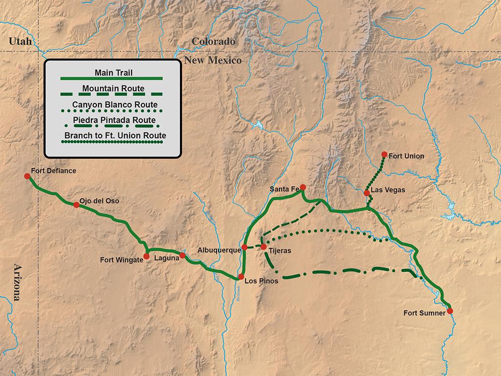 Map tracing the Navajo Long Walk