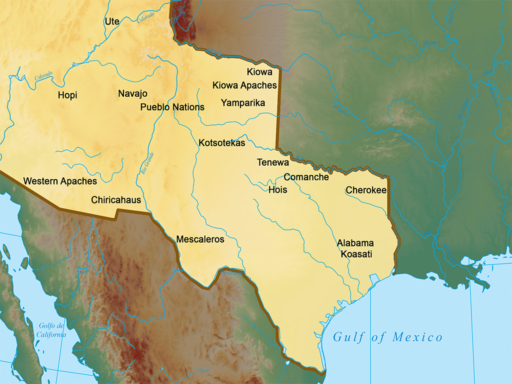 Map outlining Native Lands Ceded to U.S. by Mexico