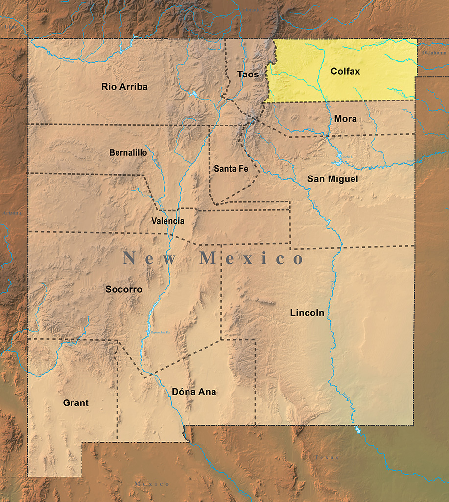 Map highlighting Colfax County