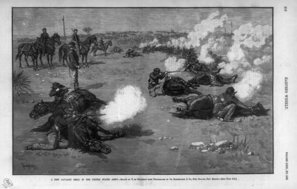 Members of the Sixth Cavalry drilling near Fort Bayard, New Mexico