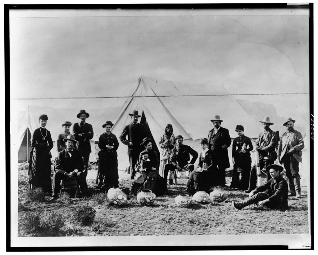 General John Alexander Logan, several U.S. Army officers, U.S. Geological Survey artists, and wives and children at Zuni in the fall of 1882.