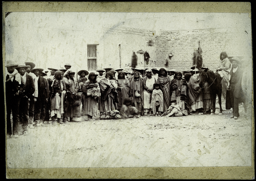 Men, women, and children of Victorio's band just after their capture by Mexican forces under Colonel Terrazas at Tres Castillos