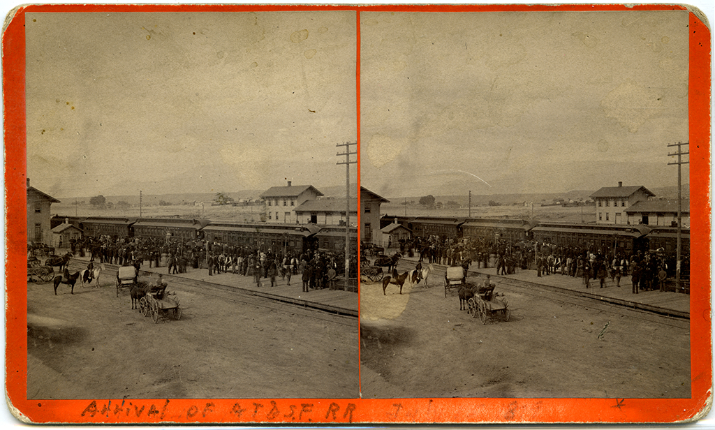 Editorial Party for the arrival of Atchison, Topeka & Santa Fe Railroad, Albuquerque, New Mexico