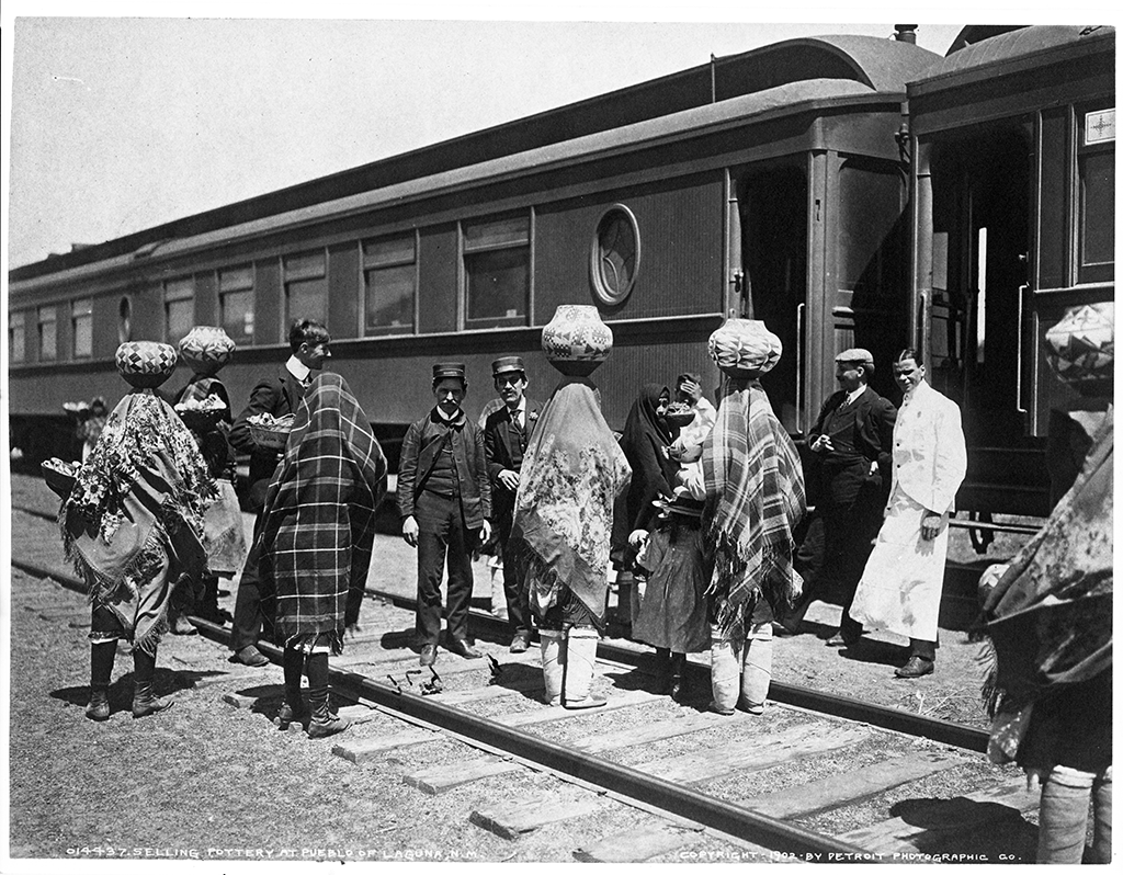 Indian women at the Laguna, New Mexico, train depot c. 1902