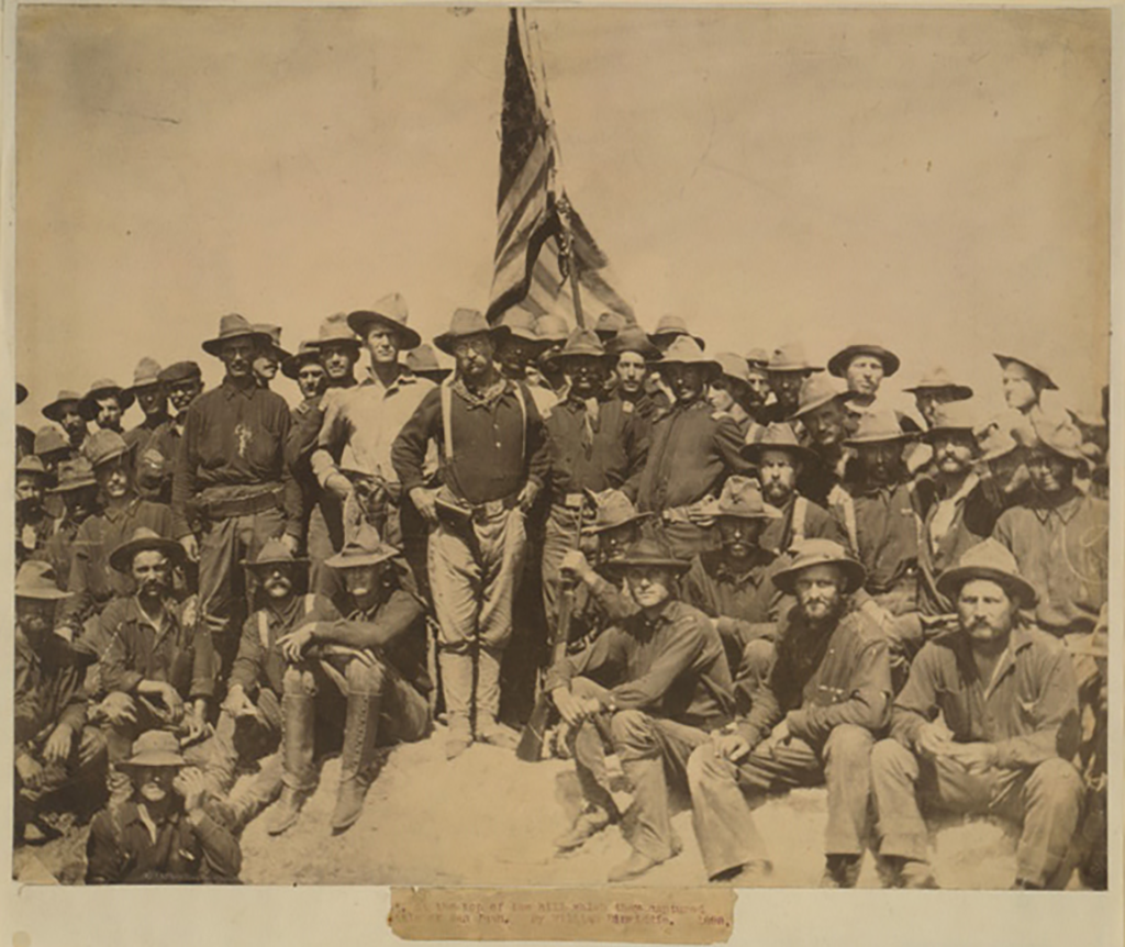 Rough Riders at the top of the hill they captured during the Battle of San Juan
