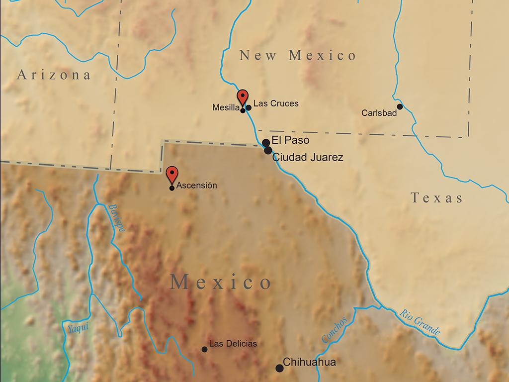 Map marking La Ascención, Chihuahua
