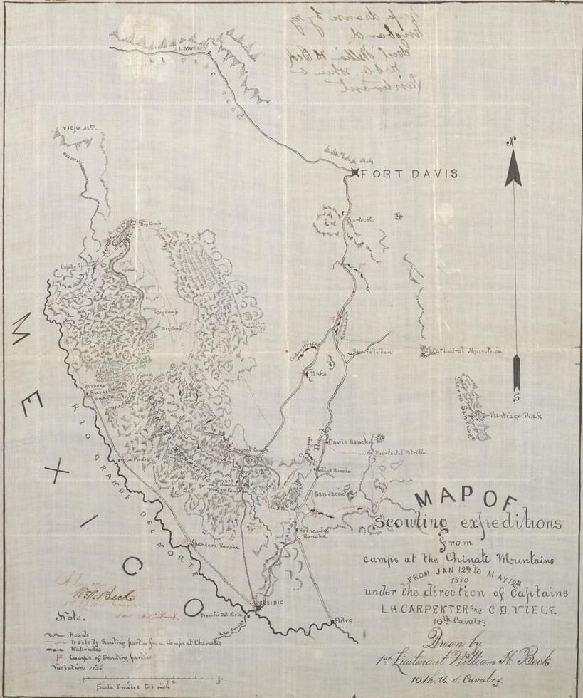 Map outlining Fort Davis and the Chinati Mountains