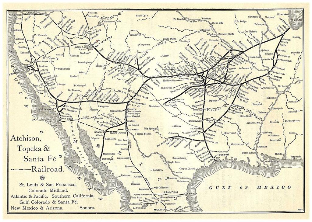 Atchison, Topeka & Santa Fe Railway Route Map