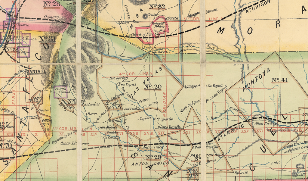 1873 map of the New Mexico Territory showing the Las Vegas Land Grant in San Miguel County