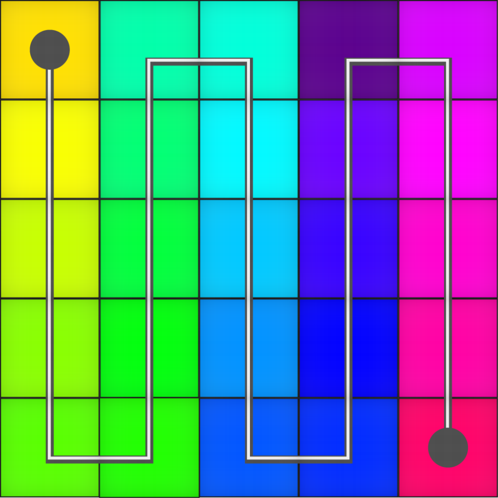 Grid with path weaving through connected colored squares