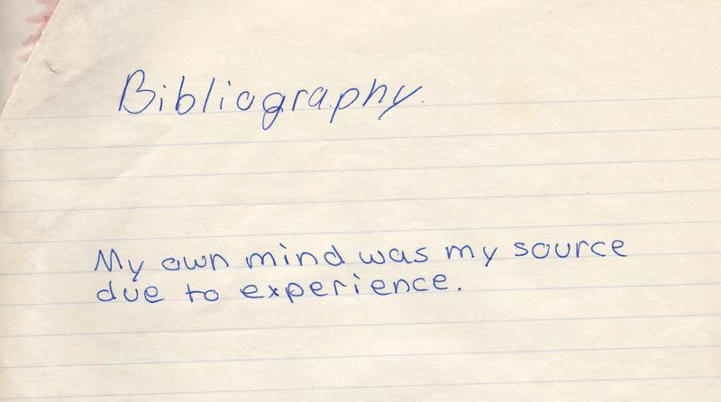 """Bad bibliography with """"My own mind"""" as a source"""