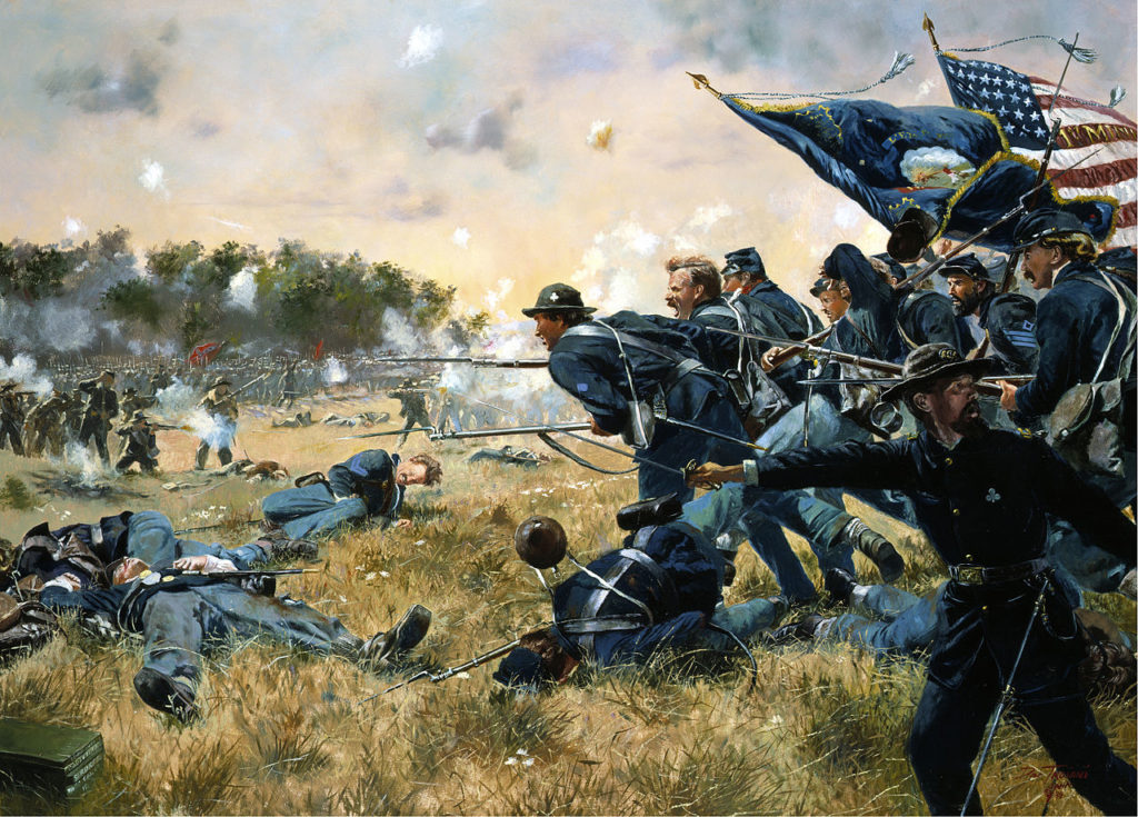 The Union charging during the Battle of Gettysburg