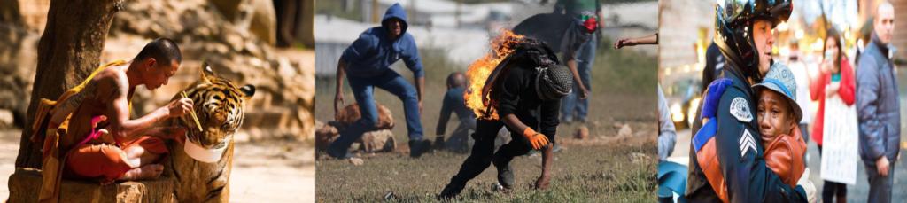 Monk feeding tiger, man on fire, boy hugging officer