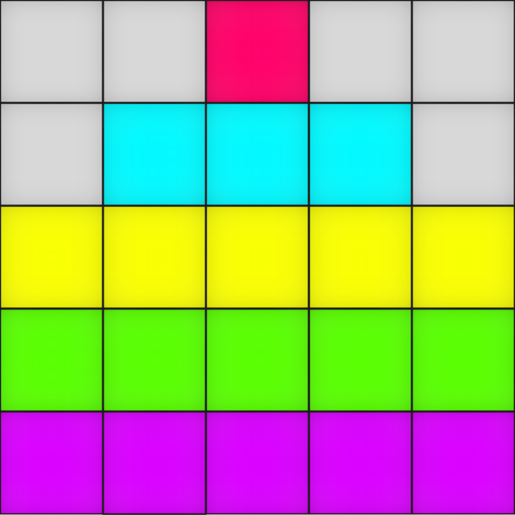 Grid with stacked colored squares