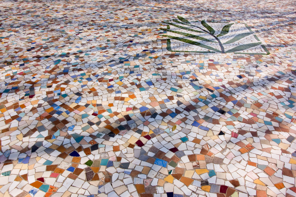 Floor mosaic of a plant