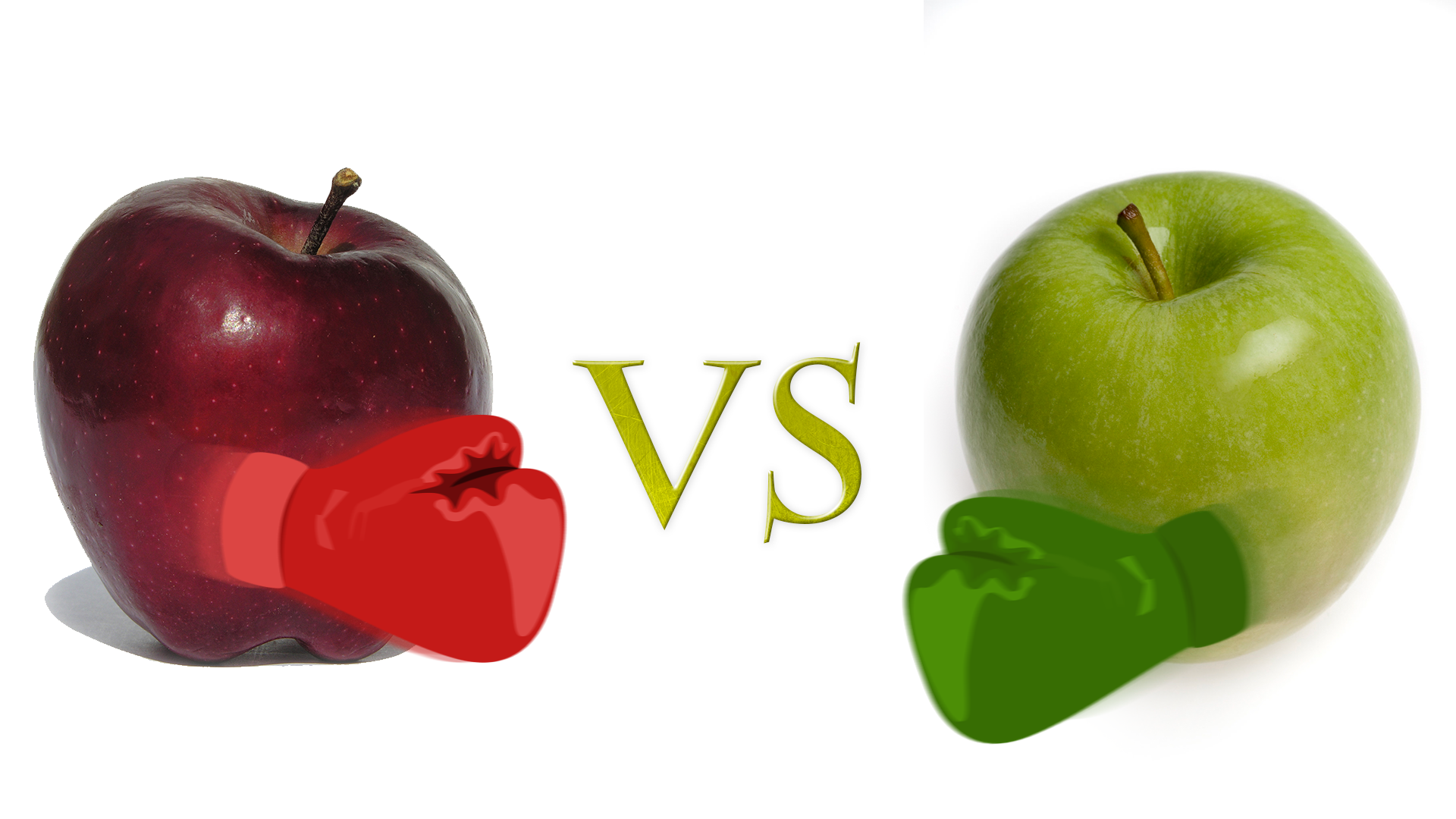 Red apple and green apple prepping for a fight