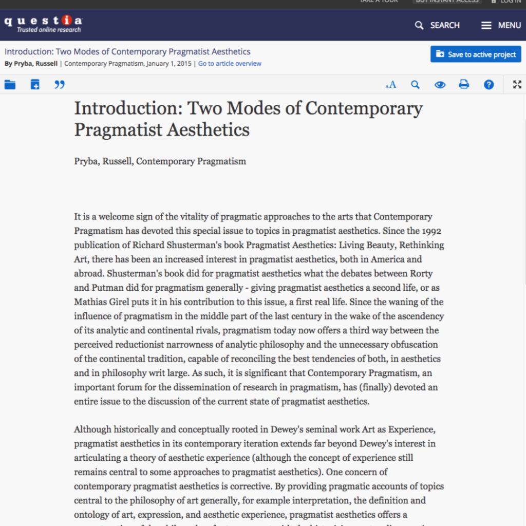 Scholarly article: Two Modes of Contemporary Pragmatist Aesthetics