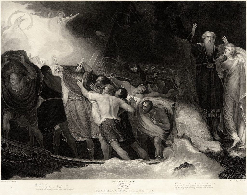 Sailors take cover from a storm in an engraving of The Tempest
