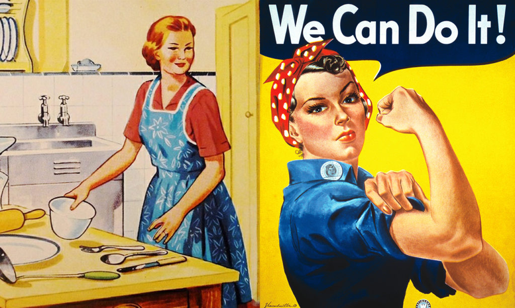 Woman flexing muscles next to a woman cooking in the kitchen