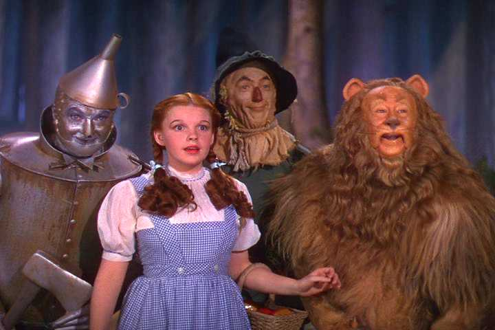 Wizard of Oz cast: Dorothy, Scarecrow, The Cowardly Lion, and The Tin Man