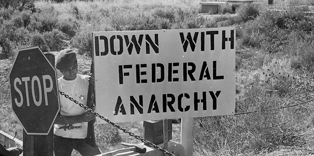 Down with federal anarchy protest sign