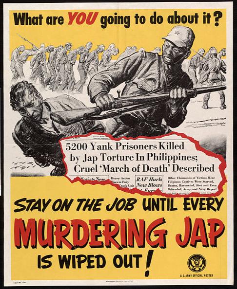 Propaganda poster describing Japanese death marches